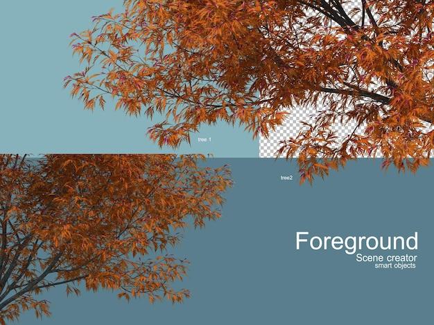 3d-rendering von bäumen vorab isoliert