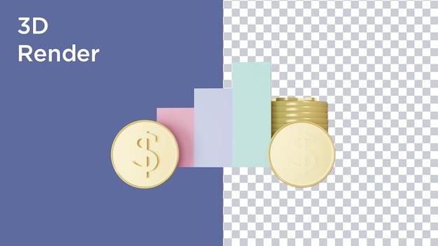 3d-rendering von dollarmünzen und grafiksymbolen