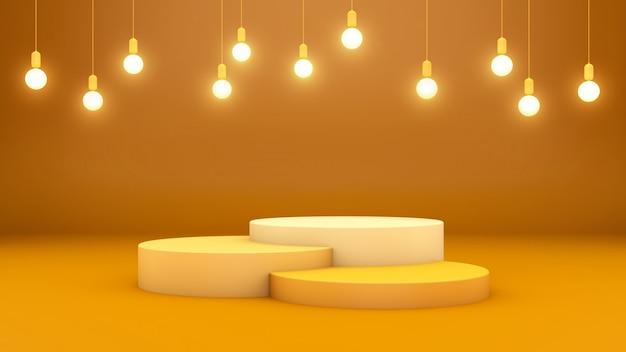 3d-rendering von drei podien und hängenden lichtern auf einem gelben raum für produktpräsentation