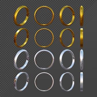 3d-rendering von einfachen gold- und silberring-sprite-sequenzen aus verschiedenen sichtperspektiven