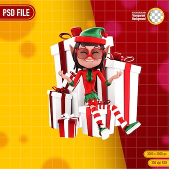 3d-rendering von elfenfiguren und weihnachtsgeschenk