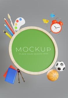 3d-rendering von green board mit back-to-school-konzept für ihre produktpräsentation
