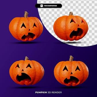 3d-rendering von jack kürbisse halloween-konzept mit unterschiedlichem winkel isoliert