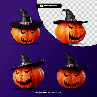 3d-rendering von jacks kürbis im hexenhut-halloween-konzept mit unterschiedlichem winkel isoliert