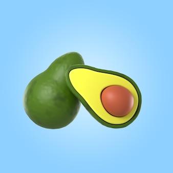 3d-rendering von köstlicher avocado