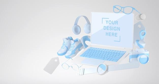 3d-rendering von laptop-modell und online-shopping-konzept