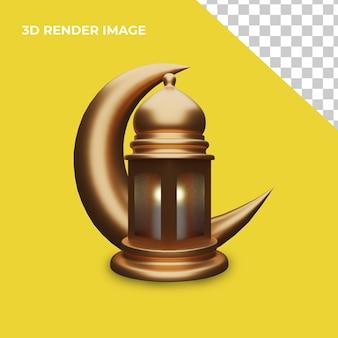 3d-rendering von laternen mit islamischem konzept