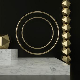 3d-rendering von marmorsockeln und goldenen ornamenten