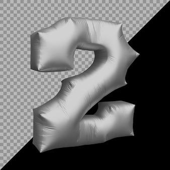 3d-rendering von nummer 2 ballon silber