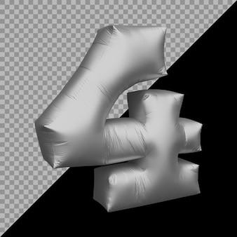 3d-rendering von nummer 4 ballon silber