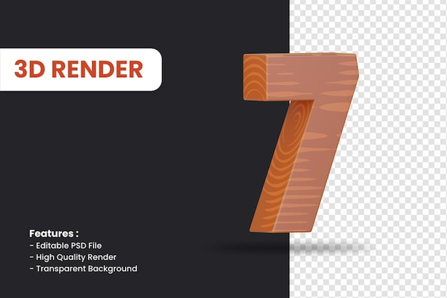 3d-rendering von nummer 7 mit holzstruktureffekt isoliert