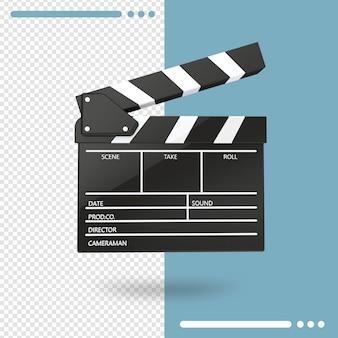 3d-rendering von offener filmklappe oder klappe isoliert