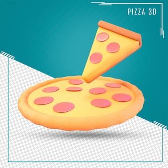 3d-rendering von pizza und slice