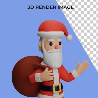 3d-rendering von santa-charakter mit weihnachts- und neujahrskonzept