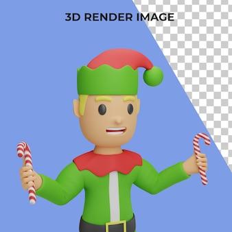 3d-rendering von santa-elfen-charakter mit weihnachts- und neujahrskonzept