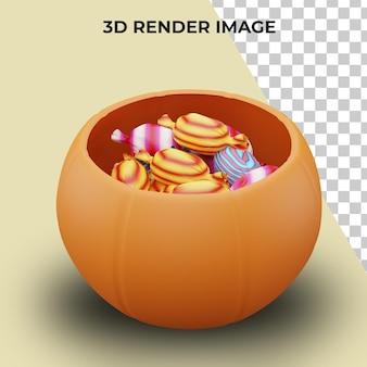 3d-rendering von süßes oder saures mit halloween-konzept