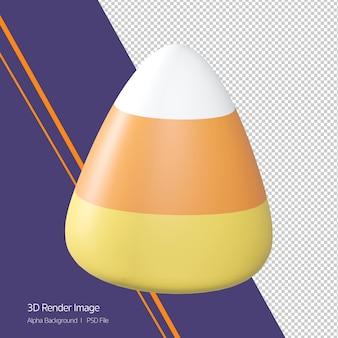 3d-rendering von süßigkeiten mais-symbol isoliert auf weiss. halloween-thema.