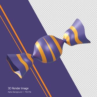 3d-rendering von süßigkeiten toffee-symbol isoliert auf weiss. halloween-thema.