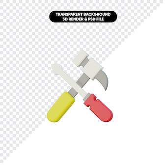 3d-rendering von werkzeugen hammer und schraubendreher