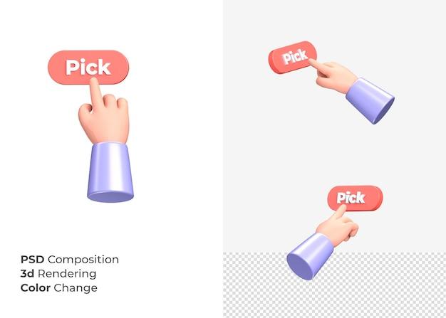 3d-rendering wählen cta knopf mit handkonzept