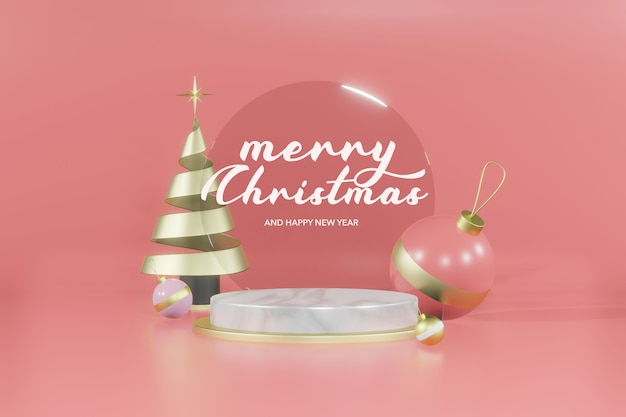 3d-rendering weihnachten leeres podium modell