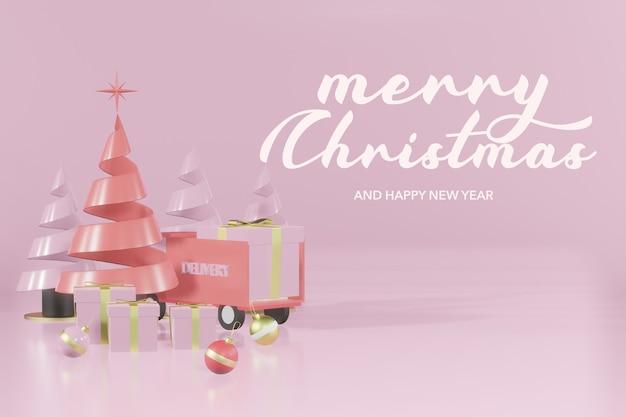 3d-rendering weihnachtspodest modell online-shopping