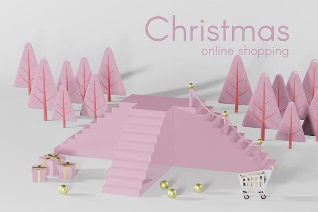 3d-rendering-weihnachtspodestmodell für produktplatzierung