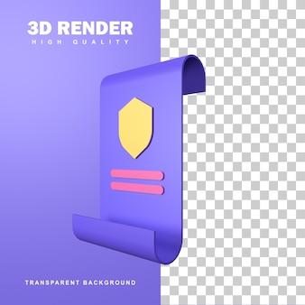 3d-rendering-zertifikat der polizei.