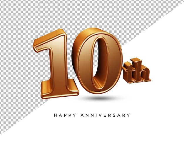 3d-rendering zum 10-jährigen jubiläum isoliert