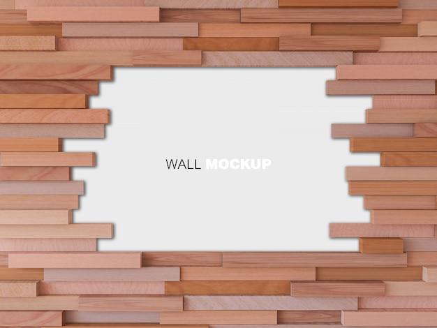3d-renderingbild der kubischen holzwand