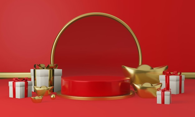 3d rendern des roten geometrischen podiums mit geschenkboxen