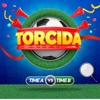 3d rendern fußballmassen-sportereignis in brasilien