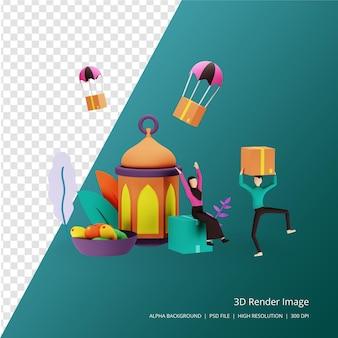 3d rendern islamisches designillustrationskonzept