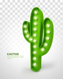3d rendern kaktus mit lichtern