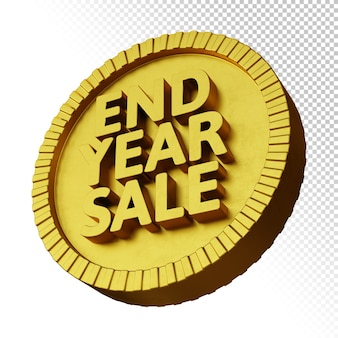 3d rendern von endjahresverkaufsförderung mit goldenem fettem kreisförmigem abzeichen lokalisiert