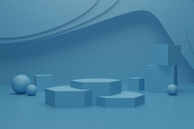 3d-renderpodiumsszene auf dem boden für produktwerbung