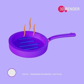 3d-rendersymbol grillpfanne