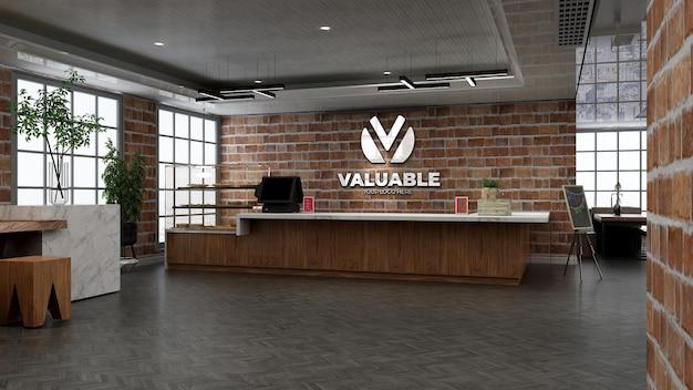 3d-restaurant- oder bar-logo-modell mit backsteinmauer