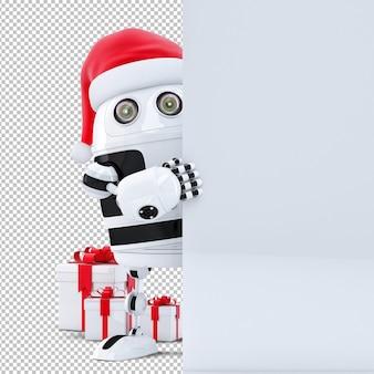 3d roboter weihnachtsmann, der leere fahne hält. weihnachtskonzept