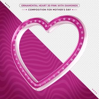 3d rosa zierherz mit glänzenden diamantsteinen