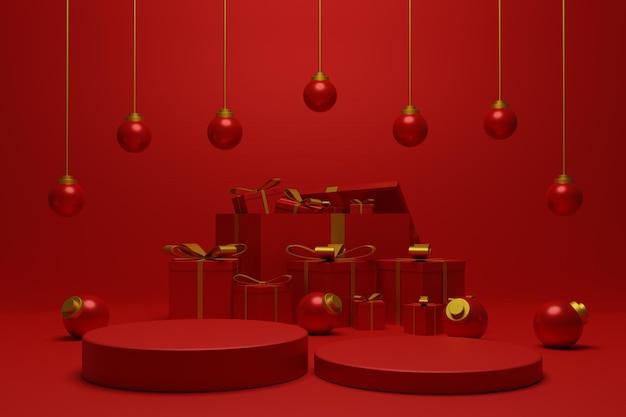 3d rotes podium weihnachten für produktpräsentation
