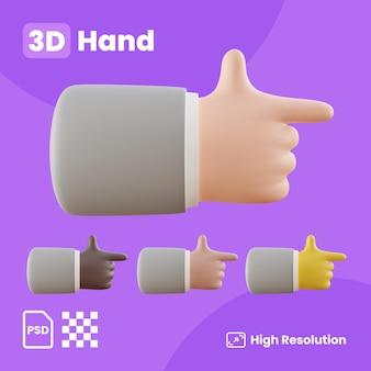 3d-sammlung mit den händen, die den zeigefinger nach rechts zeigen
