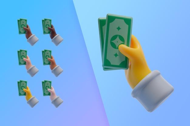 3d-sammlung mit händen, die banknoten halten