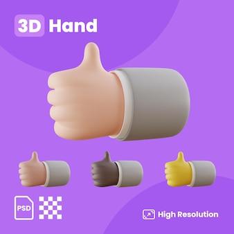 3d-sammlung mit händen, die den rechten daumen nach oben zeigen
