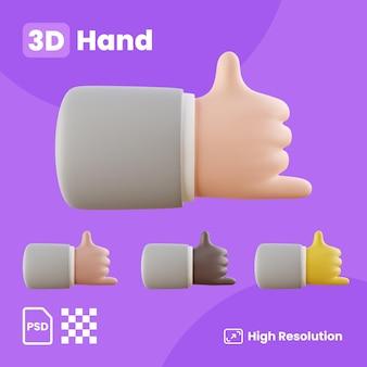 3d-sammlung mit händen, die ein cooles zeichen zeigen