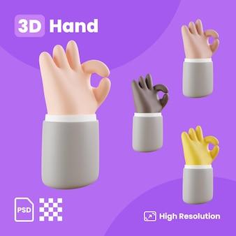 3d-sammlung mit händen, die ein schönes zeichen machen