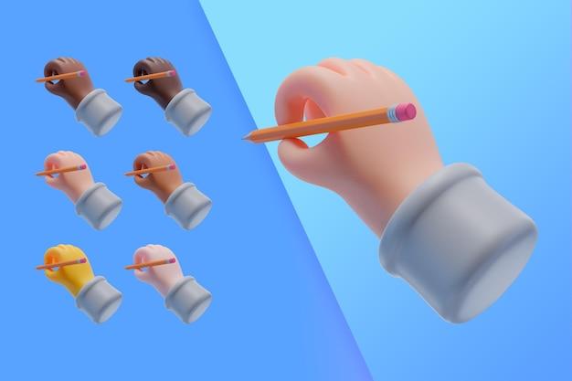 3d-sammlung mit händen, die einen bleistift halten