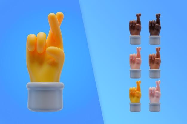 3d-sammlung mit händen, die finger kreuzen