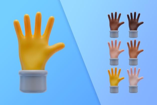 3d-sammlung mit händen, die palmen zeigen