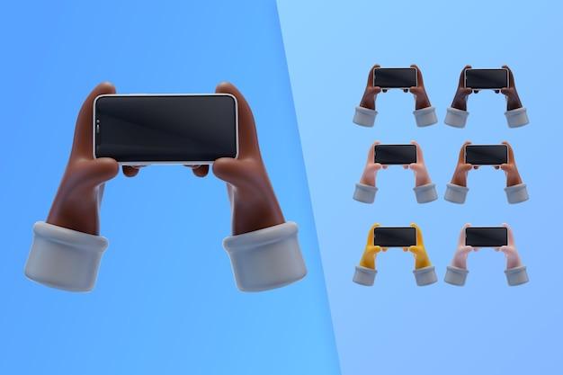3d-sammlung mit händen, die smartphone halten